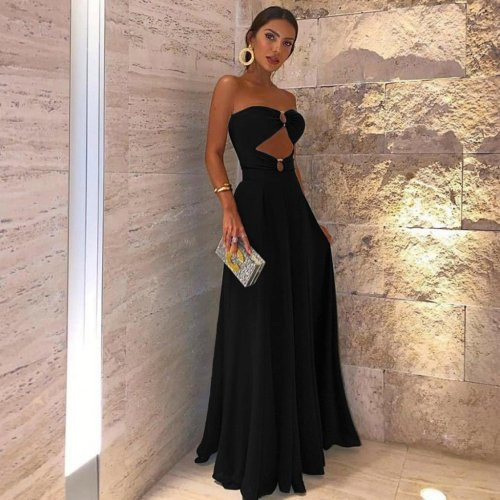 Sleeveless Sexy Hollow Out Off Shoulder Bodycon Cocktail  Maxi Dress