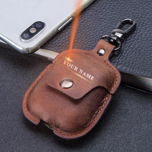Custom Name Genuine Leather AirPod Case Cover With Keychain