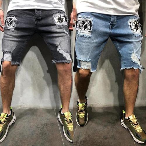 Men's Jeans Hole Slim Badge Pants