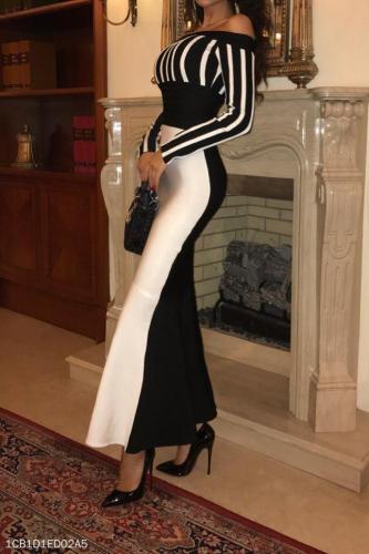 Elegant Noble Slim Black & White Off Shoulder Long Sleeve Evening Dress