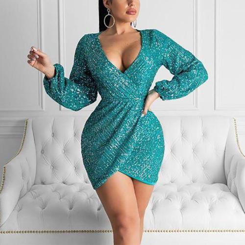Women's V-neck sequin-paneled long-sleeved mini dress
