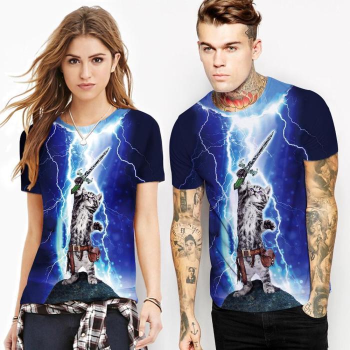 Lighting Cat Printed Casual Short Sleeve T-shirt