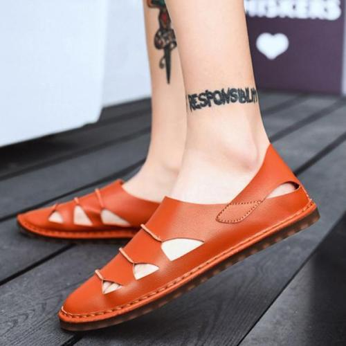 Mens Large Size Hollow-out Slip On Breathable Sandals