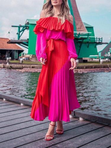 Slash Neck Off The Shoulder Dresses Women Plus Size Summer Dresses Bandage Patchwork Pleated Long 2020 Maxi Dresses