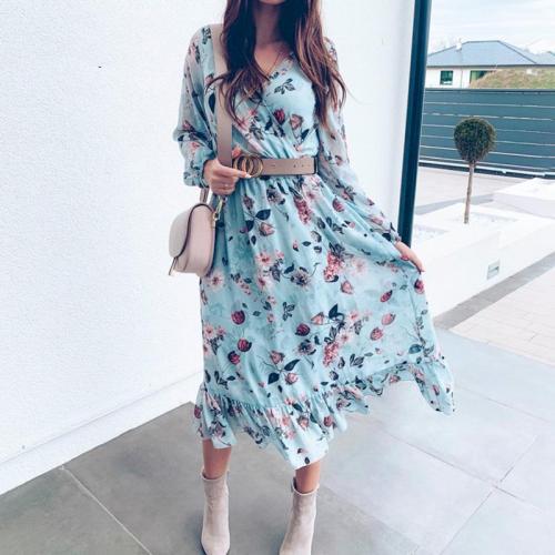 Women floral print dress Plus size ruffle boho dress Summer sexy v neck spring elegant maxi long dress beach dress vestidos