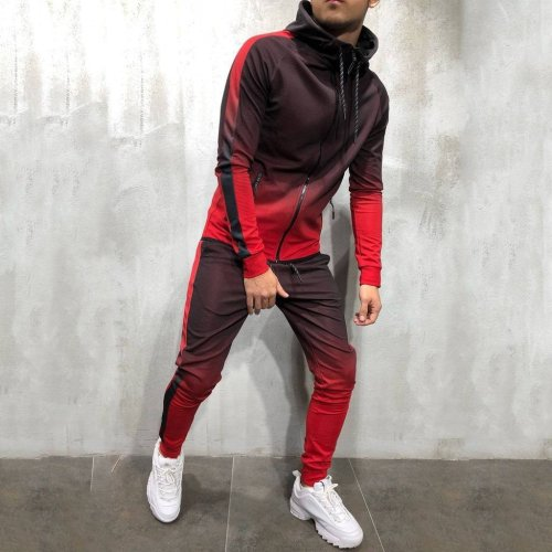 Mens Gradient Zipper Suit 4 Colors