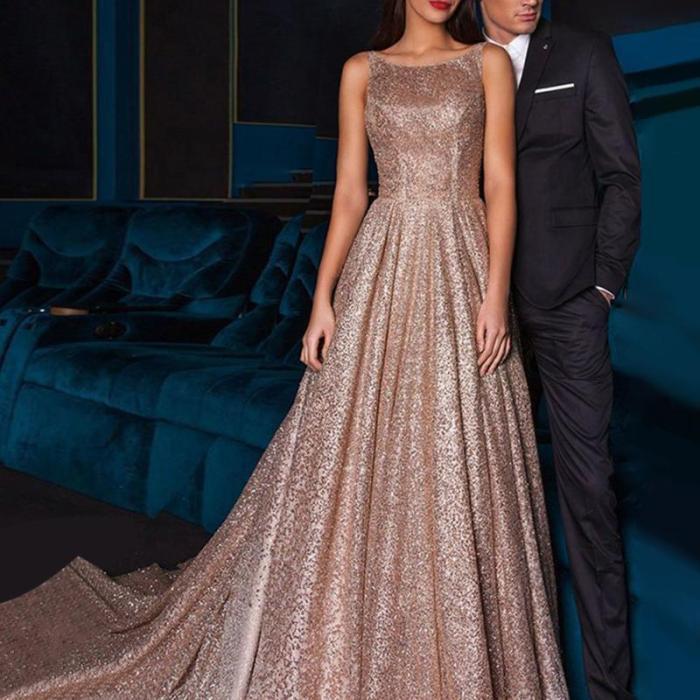 Women's Sexy Sling Bronze Halter Evening Gown