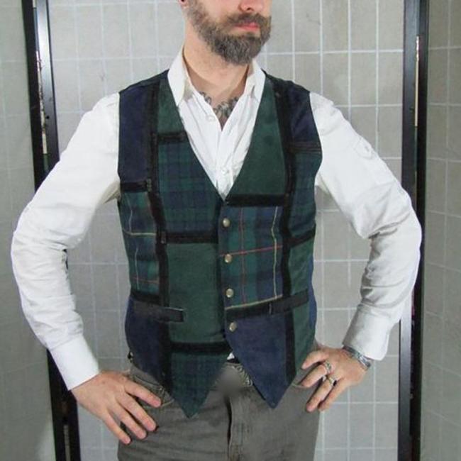 Vintage V-neck green plaid sleeveless vest