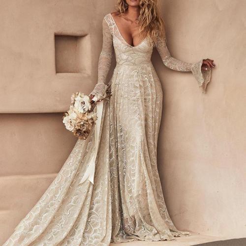 Lace Long Sleeve Deep V Dress