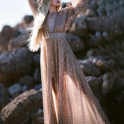 V-neck Long-sleeved Patchwork Mesh Sequin Dress