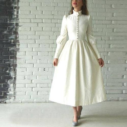 Flash Sale Long Sleeve Retro Maxi Dress Evening Dress