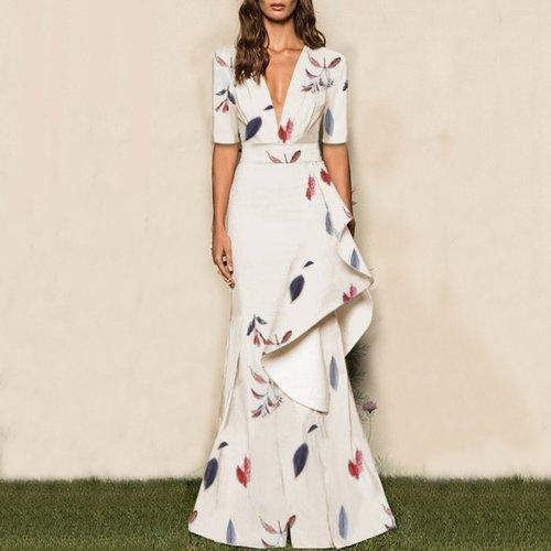 Sexy Floral Deep V Collar Medium Sleeve Evening Dress