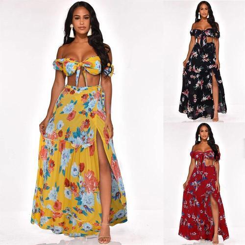 2020Summer Women Dresses Floral Print Wrapped Chest Strapless Short-sleeved Shirt Open Split Dress Swo-piece Sundress Boho Beach