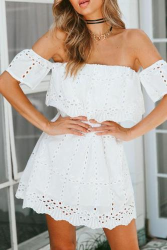 Off Shoulder  Hollow Out Plain  Short Sleeve Casual Dresses