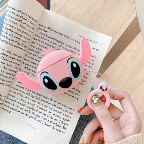 3D Silicone Stitch Cute AirPods Case Pink & Blue