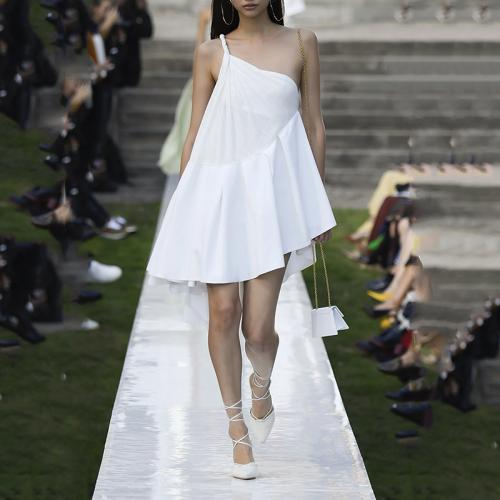 Fashion Sloping Shoulder Pure Colour Loose Ruffled Dress