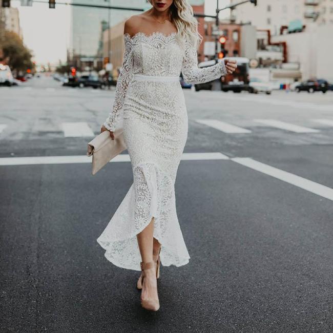 Elegant Style Off The Shoulder Long Sleeve Dress