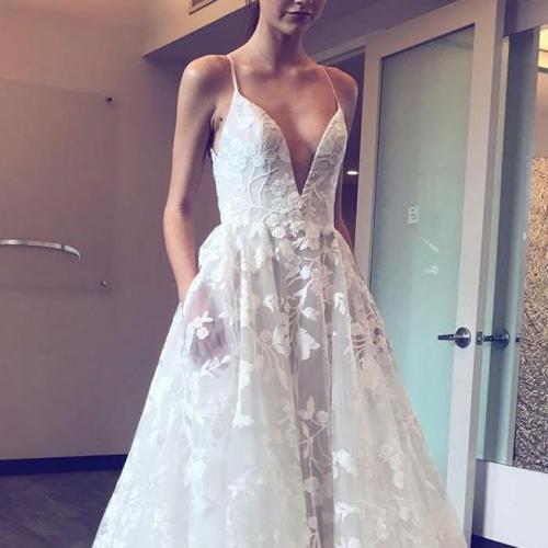Sexy Deep V Sling Evening Dress