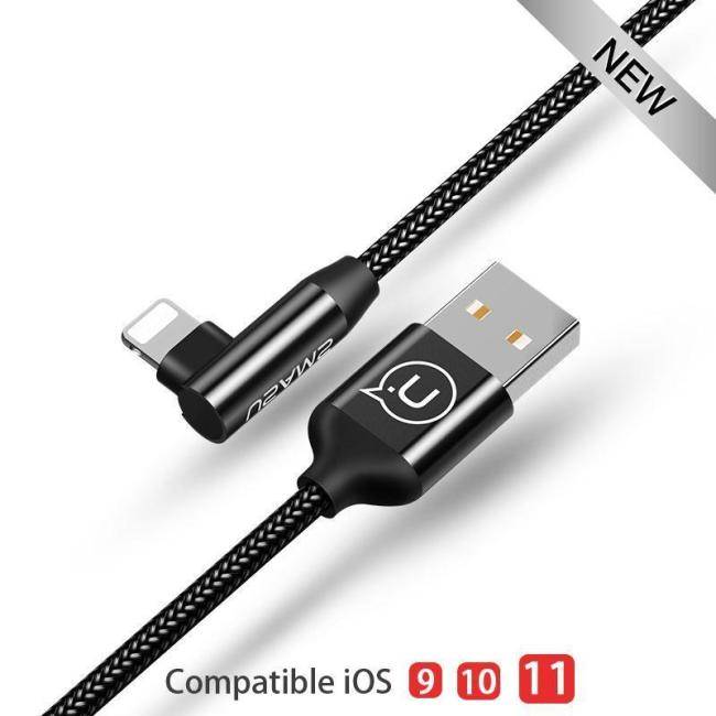 Fast Charging L Bending Lighting Cable For iPhone iPad iPod