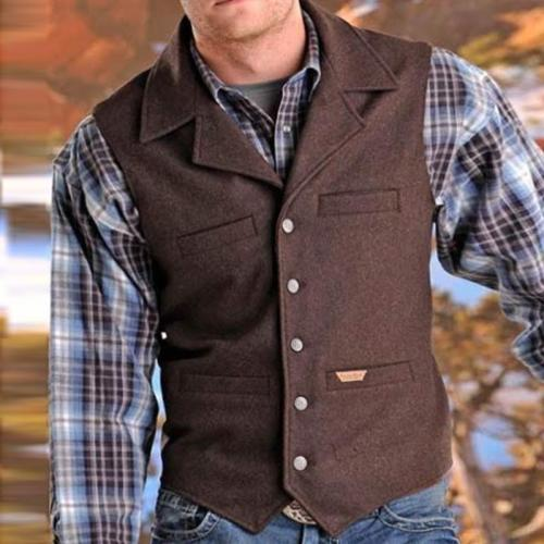 Simple Fold Over Collar Single-Breasted Vest