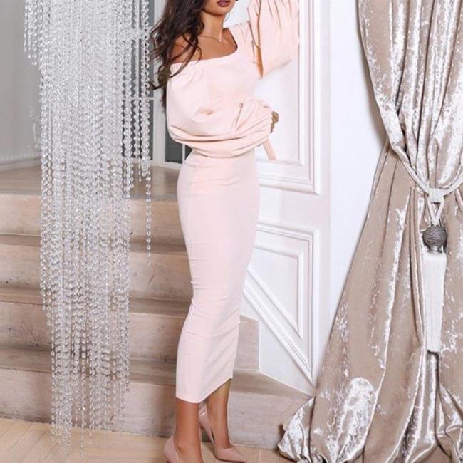 Fashion Lantern Sleeve Solid Color Dress