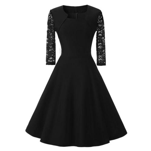 fashion Solid color evening dress elegant lace A word evening gown  party formal dresses prom dress abiye gece elbisesi