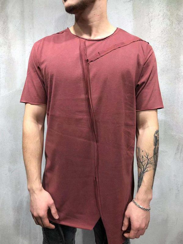 Mens Round Neck Split Joint Sweat Shirt