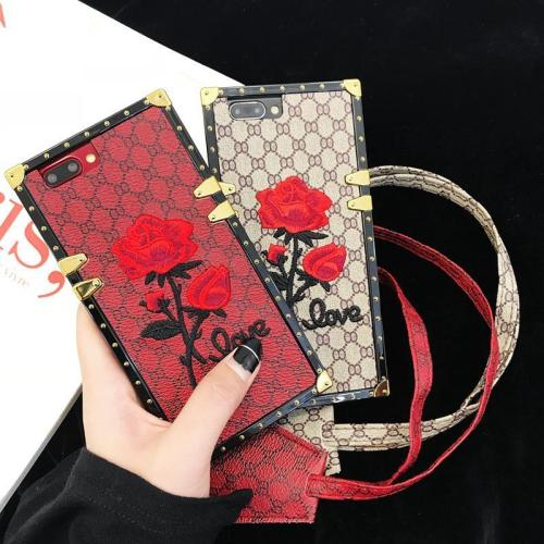 Luxury Flower Embroidery Anti-knock Hard PC Case For iPhone X 8 7 6