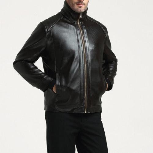 Middle-Aged Leather Men's Fur One Plus Velvet Thick Leather