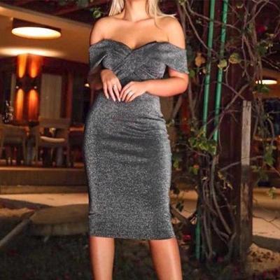 Sexy word collar fashion dress