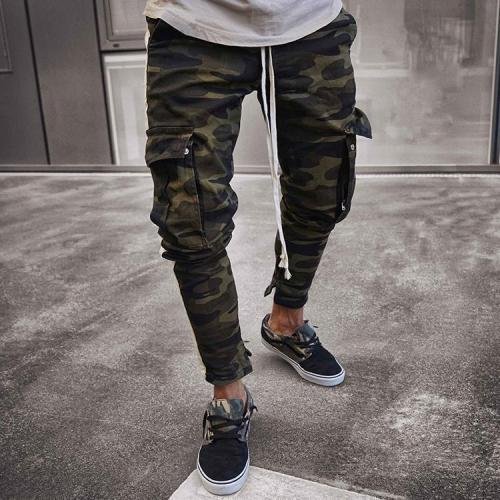 Casual Camouflage Printed Slim Multiple Packets Pants