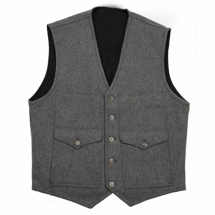Fashion retro casual knit male vest
