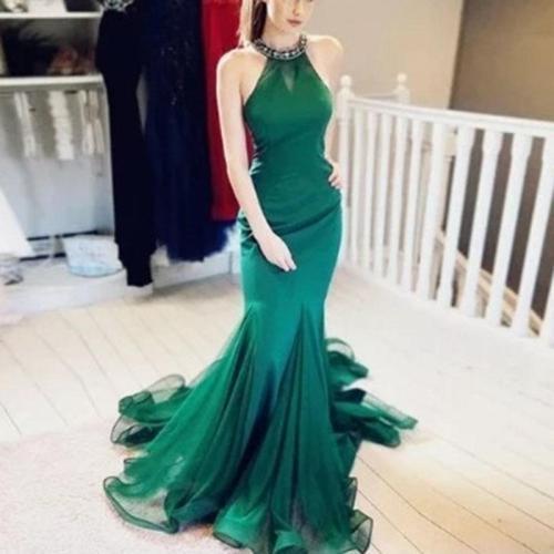 Fashion Elegant Sleeveless Halter Backless Evening Dress