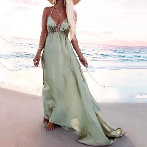 Halter V-Neck Bohemian Maxi Dress Evening Dress