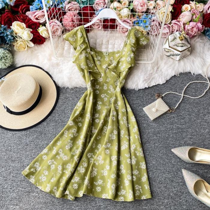 JOYMANMALL Women Summer Floral Short Dress Vintage Square Collar Sleeveless Dress French Casual Vacation Boho Beach Sundress