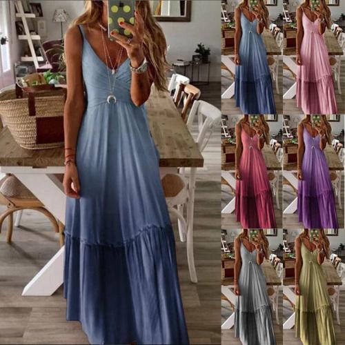 2020 New European Long Dress V-neck Sexy Gradient Floral Dot Print Casual Dresses