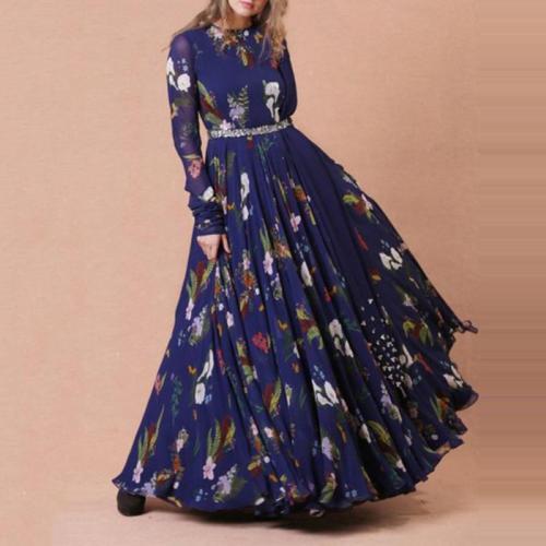 Sweet Round Neck Colorblock Print Long Sleeve Dress