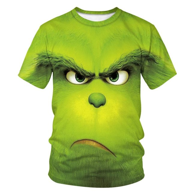 Grinch 3d Print Loose Short Sleeve T-Shirt for Men and Women