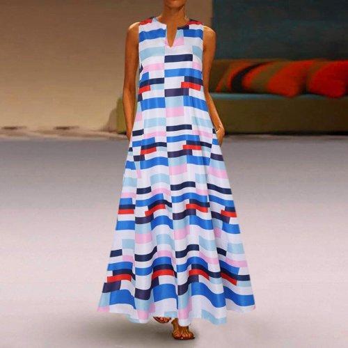 Plus Size 5XL Boho Print Casual Sleeveless V Neck Long Vintage 2020 Maxi Dresses
