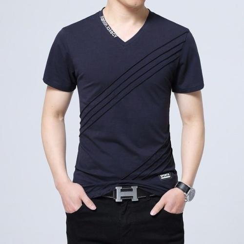 Fashion Men's Short Sleeve V-neck Cotton Large Size Casual T-Shirt