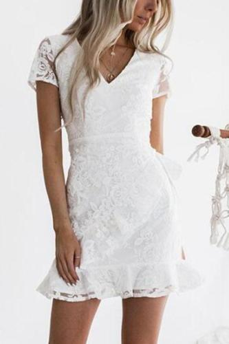 White Solid Color  V Neck Bodycon Dress