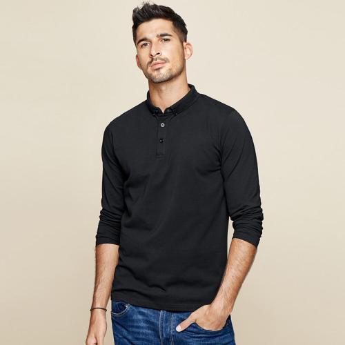 Cheap Mens Autumn Cotton Black Plain Button Polo Shirt