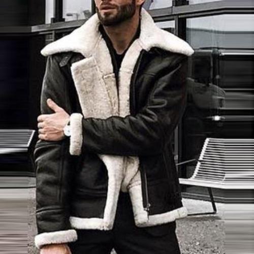 Fashion Long Sleeve Plush Leather Jacket