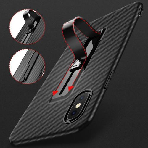 Carbon Fiber Ring Stand Radiating Shockproof Back Cover For iPhone