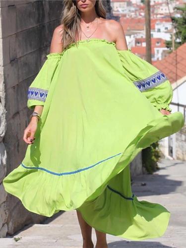 Women's  Word Collar Puff Sleeve Print Dress