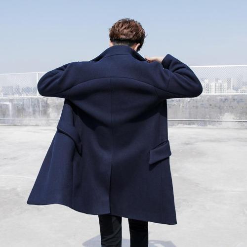Woollen cloth stand-up collar coat for young men Korean version loose windbreaker men's long winter woolen coat.
