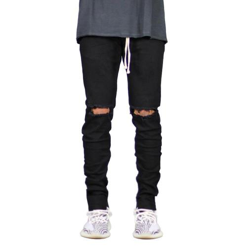 Casual Mid Waist Hole Solid Jeans