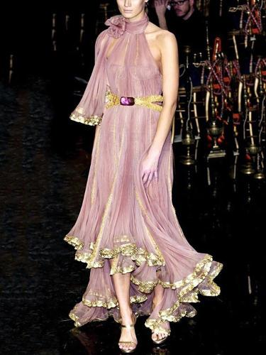 Sweet Chiffon Belted Pleated See-Through Loose Evening Dress