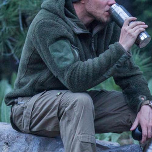 Outdoor Casual Zip Hooded Plush Long Sleeve Jacket
