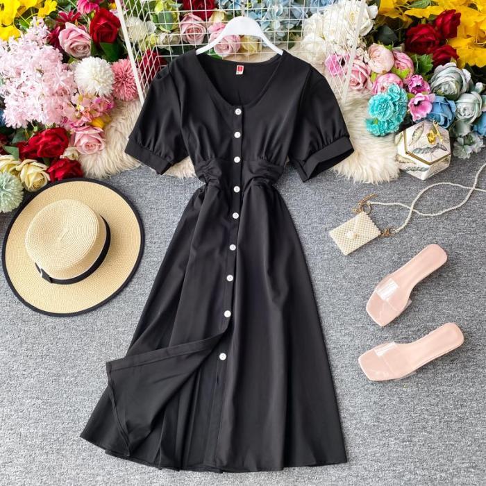 JOYMANMALL Women Summer Elegant Office Dress V Neck Single Breasted Puff Sleeve A-line Dress French Sweet Simple Streetwear Dress